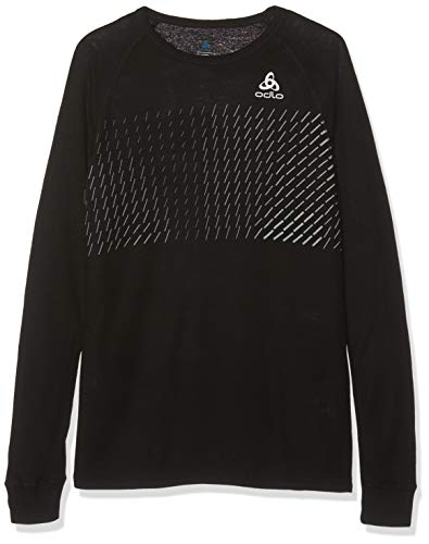 Odlo 150519 T-Shirt Manches Longues Mixte Enfant, Noir/Placed Print Fw18, FR : S (Taille Fabricant : 128)