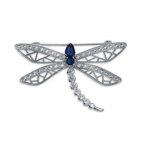 Bling Jewelry Zirconia Cúbico Azul CZ Declaración Mariposa Dragonfly Filigrana Broche para Mujer Chapados En Plata.