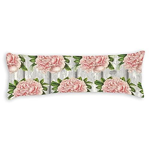 Promini Funda de almohada rústica con diseño de flores rosas, color gris, con cierre de cremallera oculto, para sofá, banco, cama, decoración del hogar, 50,8 x 137,2 cm