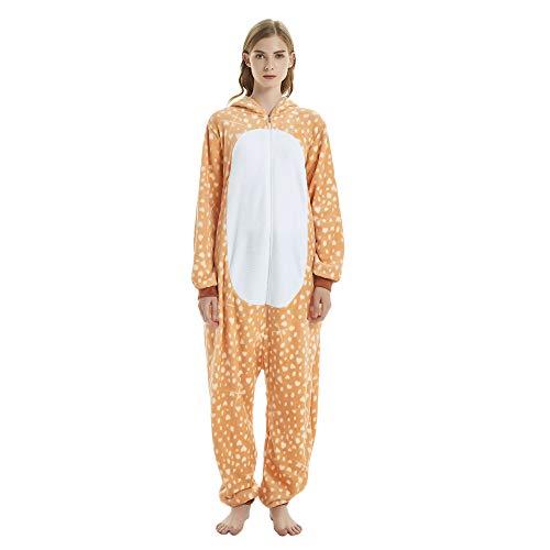 KiKa Monkey Jumpsuits Tier Cartoon Sleepsuit Karneval Cosplay Pyjama Erwachsene Kostüme Unisex Overall Pyjama (M, Giraffe)