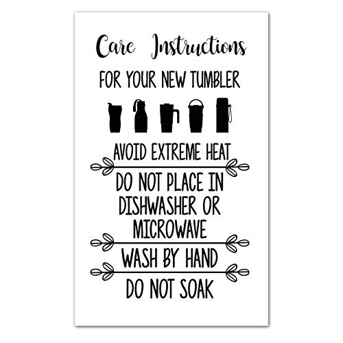 50 Care Instruction Cards Tumbler, Care Instructions for Tumbler Insert for Small Business, Care Instruction Cards for Cups, Small Online Shop Package Insert Tumbler Care Instruction Card
