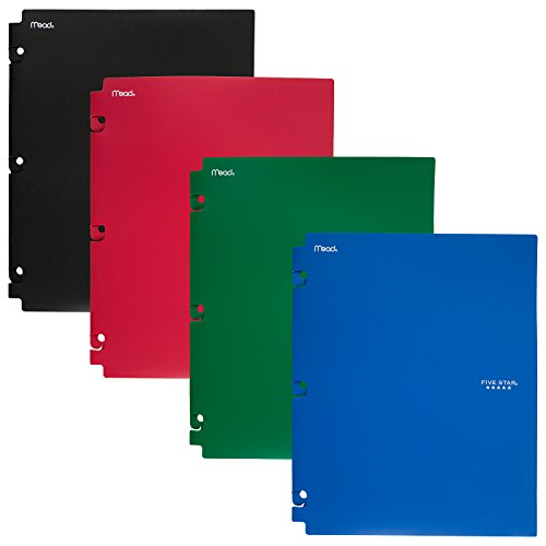 Five Star 2-Pocket Folders, Snap-In Binder Folder, Assorted Primary Colors, 4 Pack (73266)