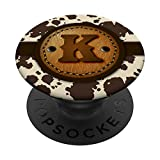 Brown Cow Western Print Monogram - Initial Letter K PopSockets Grip and Stand for Phones and Tablets