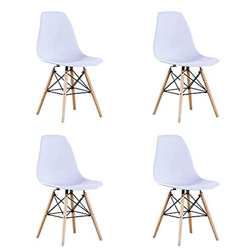 BenyLed Juego de 4 Sillas de Comedor de Plástico Moderno, Diseño Retro, para Comedor, Cocina, Oficina, Restaurante, etc. (Blanco)