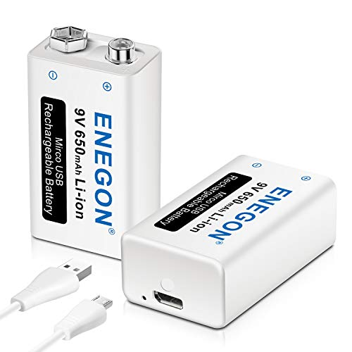 ENEGON 9V Direct USB Rechargeable Lithium-ion 650mAh Batteries with 2 in 1 Micro USB Cable for Micro Phone, Smoke Alarms, Electronic Toys, Walkie-Talkie and More Devices (2-Pack)