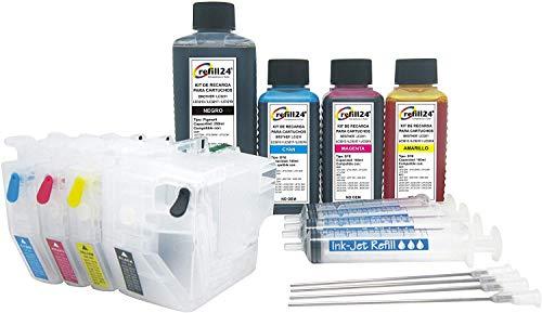 refill24 Cartuchos Recargables, Compatible para Brother LC3211, LC3213 Negro y Color. y Accesorios + 550 ML de Tinta