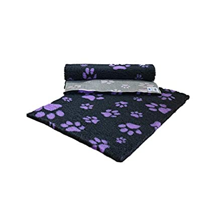 "Vetfleece RSPCA Non-Slip Pet Bedding - Suitable for Whelping Dogs Cats Hamsters Guinea-Pigs and other small mammals - 48"" x 30"" (1.20m x 0.75m) - Charcoal with Lilac Multi-Paws by Vetfleece"