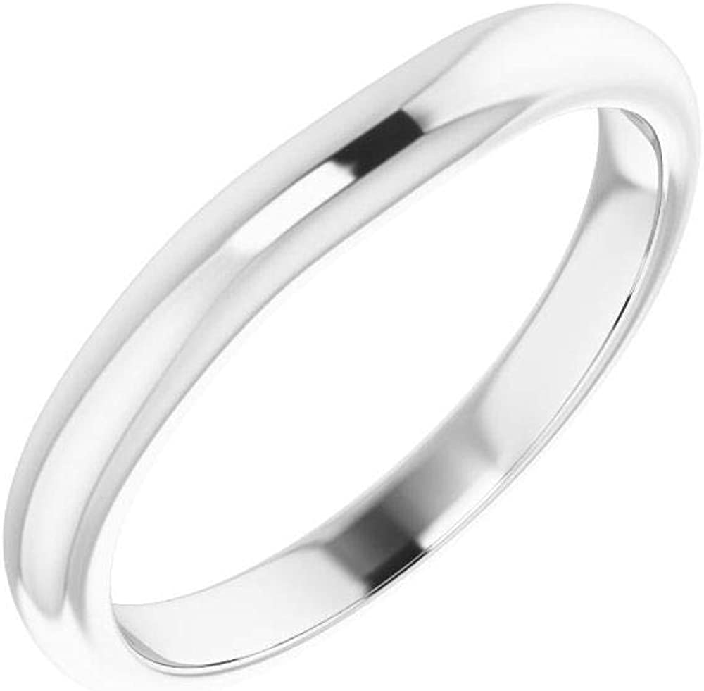 Solid 18K White Gold Curved Band Notched Wedding High material Detroit Mall for 6.5mm