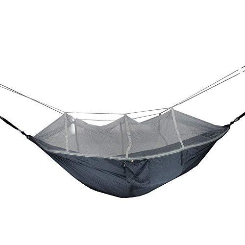 HUANXI Multifonction Double Hamac Camping avec Sac De Rangement + Sangle,300kg Capacité de Charge (260x140cm) Gris Foncé Matelas De Camping pour Easy Set Up