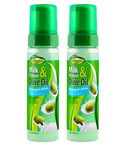 Milk Protein & Olive Oil Foam Wrap Lotion for Relaxed and Natural Hair - All-Day Soft Hold Treatment for Shiny, Healthy, Manageable Hair - Sofn'Free GroHealthy - Pack of 2