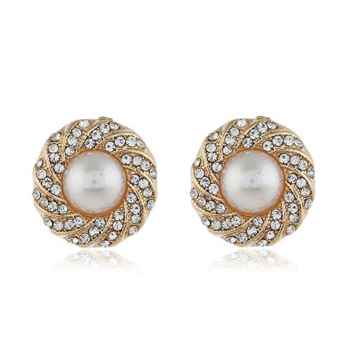 Idin Jewellery - Pendientes de tuerca para novia, diseño vintage con perlas y cristales