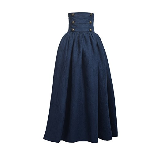 BLESSUME - Falda estilo steampunk de cintura alta, gtica, Lolita