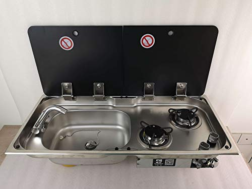 ZY Boat Caravan RV Camper 2 Burner LPG Gas Stove Hob and Sink Combo with 2 Tempered Glass...