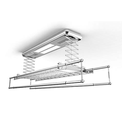 Elektrische Wäscheleine mit elektrischem Wäscheständer an der Decke, Multifunktionale Fernbedienung aus Aluminiumlegierung, versenkbare Kleiderstange, Haushaltsbalkon mit LED-Lichttrockner