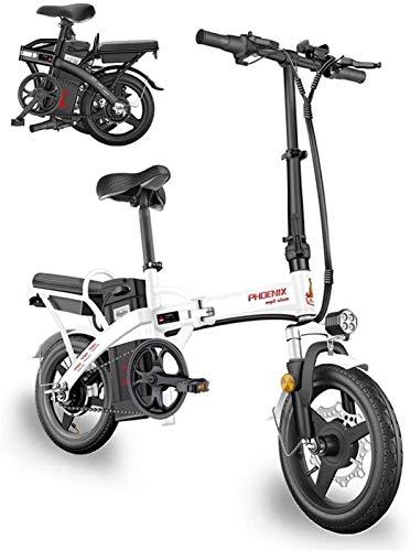 CLOTHES Bicicleta de montaña eléctrica, 400W 14 Pulgadas Bicicleta eléctrica Tráfico de Bicicletas for Adultos, Aluminio Scooter eléctrico E-Bici con la batería de Litio extraíble 48V10A,Bicicleta