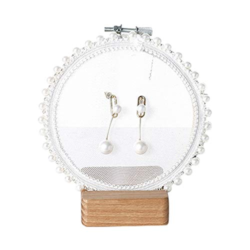 Tendycoco - Soporte organizador para pendientes de tuerca y joyas, soporte para manualidades, con soporte para exhibición de aros bordados, 11 cm, Perla, gasa, como en la imagen, 11cm