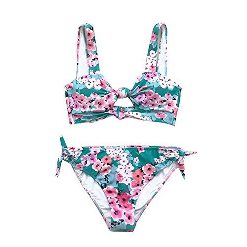 Double Knot Floral Print Bikini Sets Women Sexy Thong Two Pieces Beach Bathing Suits Girl Boho Swimwear Multi XXL