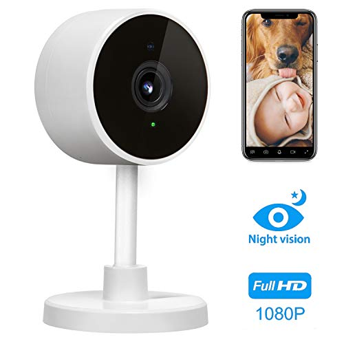 LARKKEY 1080p WiFi Home Smart Camera, Wireless Indoor 2.4G IP Security Surveillance with Night Vision, Monitor with iOS, Android App, Compatible with Google Home (White)