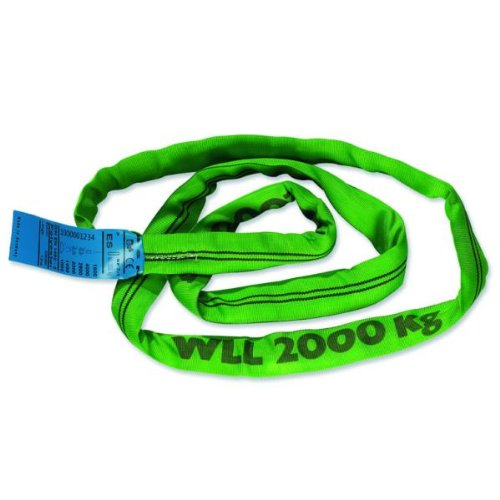 Braun 20011RS Rundschlinge 2000 kg Tragkraft, 1 m Umfang, endlos mit Polyesterkern, grün