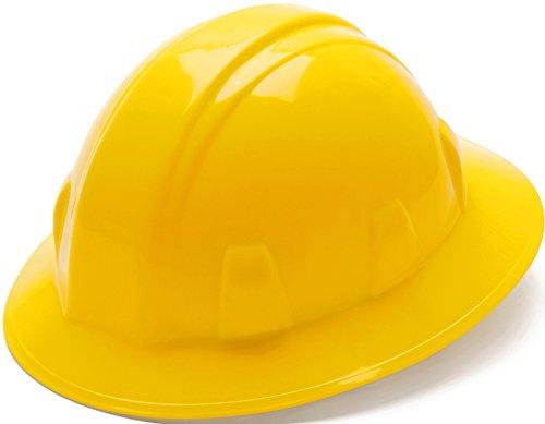 Pyramex Safety SL Series Full Brim Hard Hat, 4-Point Ratchet Suspension, Yellow