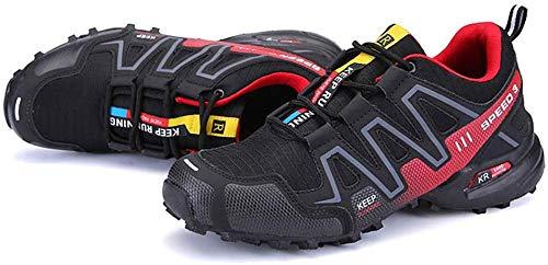Ffggfgd Shoes Fahrradschuhe für Damen und Herren, atmungsaktive schlossfreie Reitschuhe, Wanderschuhe in freier Wildbahn, für Outdoor,Rot,46
