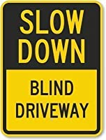 S-RONG雑貨屋 Slow Down - Blind Driveway Sign ブリキ 看板レトロ デザイン 30x40cm