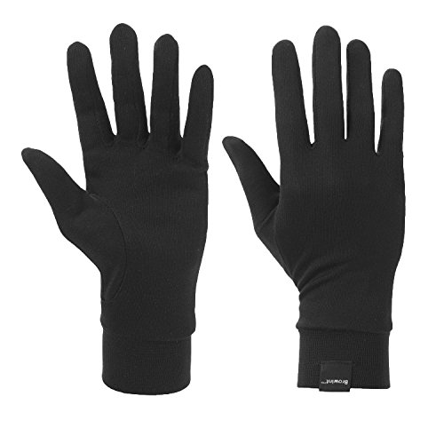 Browint Silk Glove Liners for Cold Weather Black Unisex Thermal Silk Gloves S M L XL XXL