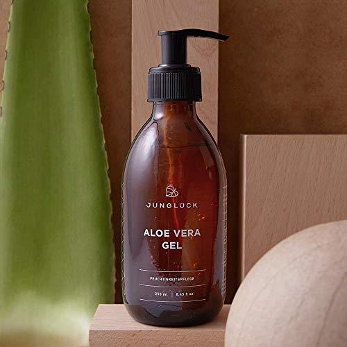 Aloe Vera Gel aus 95% bio Aloe Vera - vegan & in Braunglas - Feuchtigkeitspflege für gesunde & schöne Haut - Junglück natürliche & nachhaltige Kosmetik made in Germany - 250 ml - 3