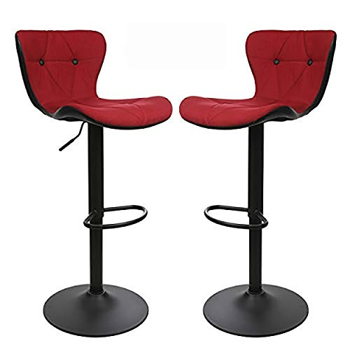 Counter Height Swivel Bar Stools, Barstools Bar Height, Stool Chair, Modern Upholstered with Diamond Stitched Pattern, Red and Black, Set of 2, by Halter