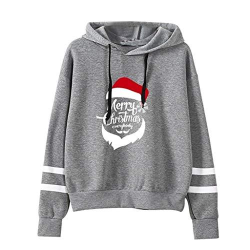 HOTHONG Femmes Sweat à Capuche Pull à Rayures Hoodie Pulls Impression De Noël Sweatershirt Tops Blouse À Manches Longues Mode Manteau