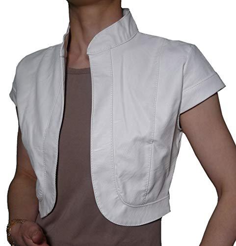 Elegante Kurze Strickjacke für Zeremonie, aus Kunstleder, Bolero, kurzer Ärmel, für Damen und Mädchen, Weiß 34/38 DE Einheitsgröße
