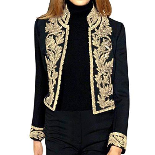Hniunew Sakko Damen Elegant Blazer Suit Jacket Gold-Jacquard-Muster Hochzeitsjacke LangäRmliger Pumps Nationaler Mantel Traditionell, Schwarz, M