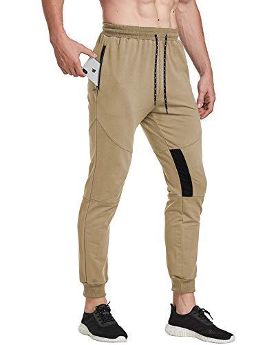 FEDTOSING Pantalones de deporte para hombre, de algodón, ajustados caqui S