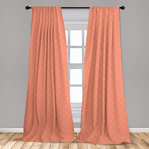 """Ambesonne Peach Curtains, Flower Ornate Pattern Nature Inspired Image with Soft Color Spring Summer Foliage Print, Window Treatments 2 Panel Set for Living Room Bedroom Decor, 56"""" x 63"""", Peach Coral"""