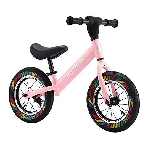 ZLI Bicicleta Equilibrio Rosa Bicicleta de Entrenamiento de Equilibrio, Principiante/Niños Bicicleta Deportiva al Aire Libre con Neumático de 12/14/16 Pulgadas, Mejor Regalo de Cumpleaños