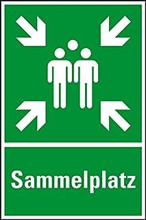 Schild Sammelplatz Sammelstelle Sammelpunkt 40x40cm Kunststoff langnachleuchtend