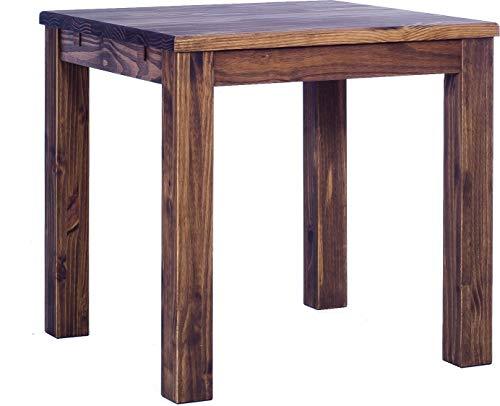 Brasilmöbel Esstisch Rio Classico 80x80 cm Eiche antik Massivholz Pinie Holz Esszimmertisch Echtholz Größe und Farbe wählbar ausziehbar vorgerichtet für Ansteckplatten