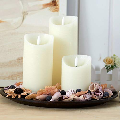 glowiu 3PK Flameless Candle Realistic Wick Battery Operated LED Candles Set of 3(H 4' 6' 8' x D3) Candles Electric Home Decor with 10-Key Remote Multi-Function for Christmas and Festival (Ivory)