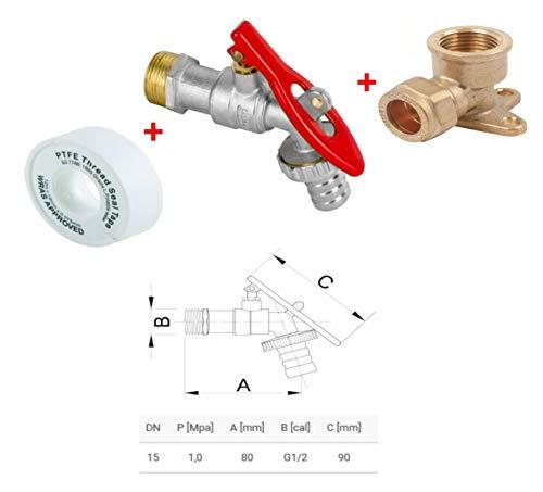 Wärmer System Grifo de bloqueo de válvula con candado, grifo de compresión para placa de pared Codo, 15 mm - Latón+Cinta PTFE