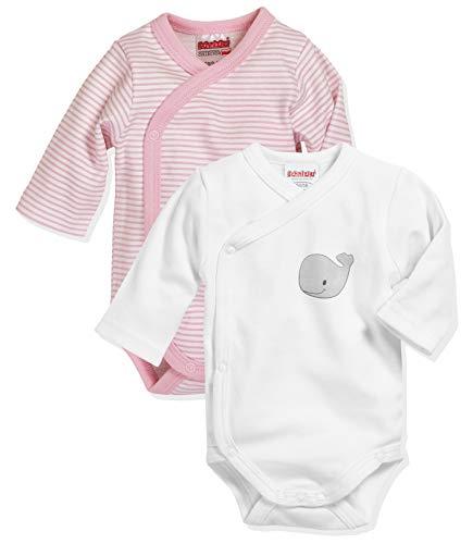 Schnizler Unisex Baby Wickel-Body Wal 2er Pack Kleinkind Unterwäsche-Satz, rosa 14, 56
