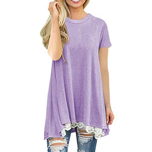 Camiseta de Mujer de Manga Corta con Cuello Redondo y Camiseta de Mujer de Manga Corta Tops de Camisa de Verano Tops de Mujer Suéter con Cuello Redondo Costuras raglán Decorativas Túnica a Contraste