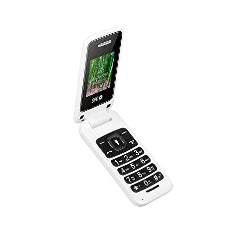 SPC Flip - Teléfono móvil (Dual SIM, Números y letras grandes, Agenda hasta 300 contactos, Bluetooth) – Color Blanco