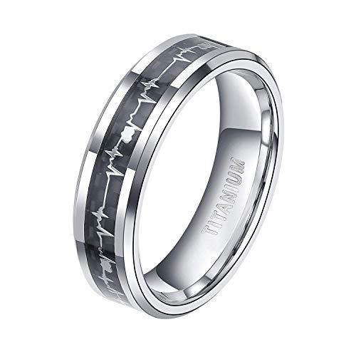 TIGRADE 6mm 8mm Titanium EKG Heartbeat Rings Cardiogram Black Carbon Fiber Engagement Wedding Band, 6mm, Size 11.5