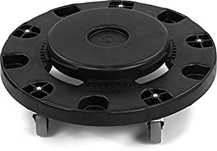 Carlisle 3691103 Bronco Round Waste Container Trash Can Dolly 20, 32, 44 and 55 gal, Black, 5