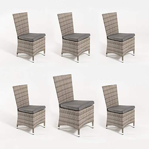 Edenjardi Pack 6 sillas de Exterior con faldón, Tamaño: 48x58x95 cm, Aluminio...