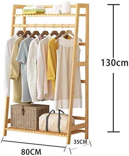 MJK Kleiderständer, Garderobenständer Kleiderständer, Leiter Kleiderbügel Massivholz Kleiderständer Handtuchhalter Taschenständer,EIN,80 * 35 * 130 cm