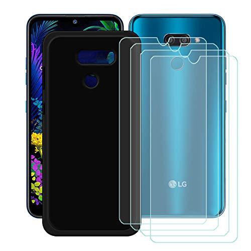 YZKJ Capa para LG K12 Max + 4 películas protetoras de tela de vidro temperado – capa de proteção de silicone TPU (poliuretano termoplástico) flexível e macio para LG K12 Max (6,2 polegadas)