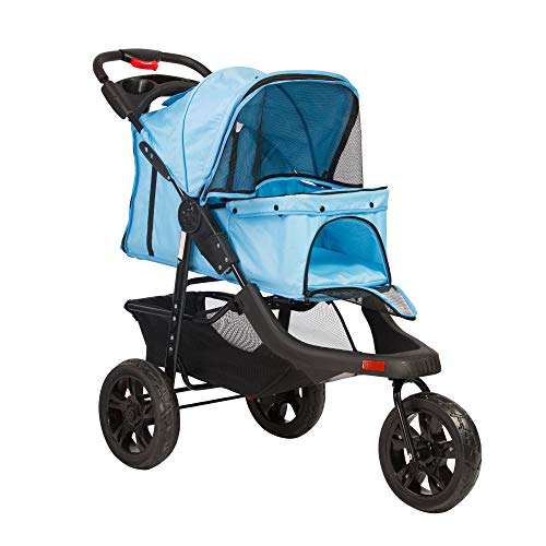 Vilobos Foldable Large Pet Jogger Stroller for Dog/Cat,Portable Three Wheels Pet Stroller with Extra Large Storage Space