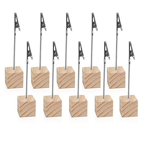10 PCS Wooden Memo Clips Holder  TIE-DailyNec Lightweight Wood Cube Base Memo Photo Paper Note Clip with Alligator Clip Clasp for Displaying Number Cards