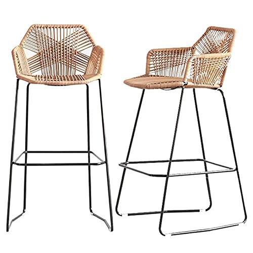 Taburete de Bar Sillas de Cocina Juego de 2 taburetes de Bar, Barra de Cocina para Desayuno, taburetes de Bar, Silla de Mimbre Tejida, sillas de Comedor, sillas de Cocina, sillas de Cocina, cafeter
